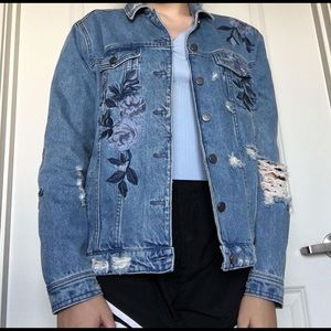 Distressed Floral Embroidered Denim Jacket
